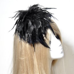 Wholesale Vintage Feather Headpieces - Vintage Church Derby Vintage Wedding Bridal Fascinator White Black Feather Lace Headband Headpieces Aliceband Handmade Best Lady gift