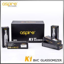 Сменный пирекс онлайн-100% оригинальный Aspire K1 BVC катушки сменный эго атомайзер Clearomizer 1.5 мл Pyrex стеклянный бак Aspire K1 Glassomizer с огромным паром