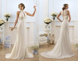 unique sheath evening gowns Promo Codes - Unique Halter Chiffon Summer Beach Wedding Dresses Sheath Beaded Crystals Sash Floor Length Bridal Gowns Women Evening Party Dresses BO8633