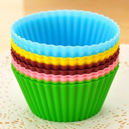 Wholesale Silicon Bake Cake Cup - 7cm Round Silicon Gel Case Liners Baking Mold Non-stick Bakeware Muffin Cup Cake Cups Cupcake Jelly Baking Mold Party Supplies Free DHL