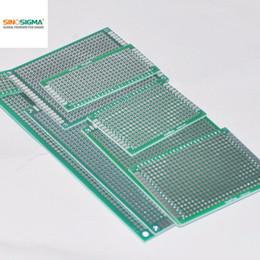 Wholesale Pcb Universal Board Double - 16pcs PCB Prototype Board 2.54mm Circuit Universal Stripboard Veroboard Double Side 2X8 3X7 4X6 5X7 6X8 7X9 8X12 9X15 2Pcs Each