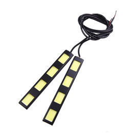 Giorno di auto in esecuzione online-Nuovo 1Pair 8W COB 4 LED Car Daytime Running Light LED COB Bar DRL Driving Lamp Bulbs Bianco 12V 6000-6500K Fog Day Leds