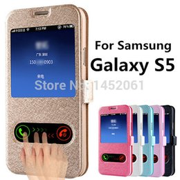 Галактика s5 роскошный кожаный чехол для телефона онлайн-Wholesale- S5 Silk Pattern Flip Cover Case For  Galaxy S5 i9600 Leather Phone Bag With Stand Design Function Galaxi S 5 Cases