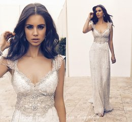 Wholesale V Neck Wedding Gown Beaded - Sexy V Neck 2016 Wedding Dress A Line With Capped Short Sleeves Lace Bridal Gowns Custom Made Beaded Crystal Beach Sweep Train Plus Size