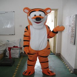 Wholesale Deluxe Tiger Costume - Real Pictures Deluxe Tiger Mascot Costume ,Halloween Party Children Fancy dress ,factory direct,free shipping