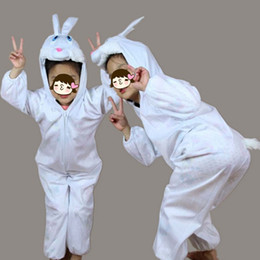Wholesale Carnival Rabbit Costumes - 2018 Fashion Uinsex Boy Girls Animal Costume Kids White Rabbit Cartoon Cosplay Clothing Jumpsuits Hallowmas Costume Carnival Party Children'