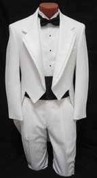 Wholesale Tailcoat Tux - Top Quality custom suit Men's boys White Tuxedo Tailcoat Dance Costume Tux Tails Coat Bridegroom wedding suits(Jacket+Pants+bow)