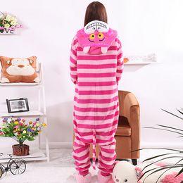 Wholesale Womens Onesie Pyjamas - pyjama trousers New Sleepsuit Cheshire Cat Pajamas Adult Onesie Animal Rompers Womens Jumpsuit Cartoon Cosplay Costumes Pyjama