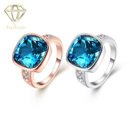 Wholesale Aquamarine Rings White Gold - Aquamarine Engagement Rings Top Quality Rose White Gold Plated with Sapphire Blue Glass Crystal Fashion Ring Jewelry for Women Party Wedding