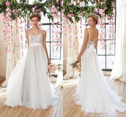 Wholesale Bateau Neckline Lace Wedding Dress - Cheap Flowy Beach Wedding Dresses 2016 Sheer Illusion Neckline Lace Bodice Tulle Skirt Bridal Gowns Low Back Bohemia Bridal Dresses Vintage