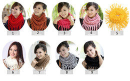 Wholesale Girls Knit Infinity Scarf - women scarf rings knit scarves female Womens Winter Knit Infinity Circle Scarf Wrap Scarves girls tassel ladies neck scarf D1875
