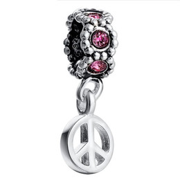 Wholesale Millefiori Pendant Necklace - Wholesale 925 Sterling Silver Pendant Flower With Crystal European Charm Beads Fit Necklace Bracelet Fashion DIY Jewelry