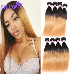 Wholesale Human Hair Extensions Sales - Hot Sale Ombre Brazilian Human Hair Bundles Ombre 1B 27# Straight Hair Extensions 3 Bundles Brazilian Virgin Human Hair