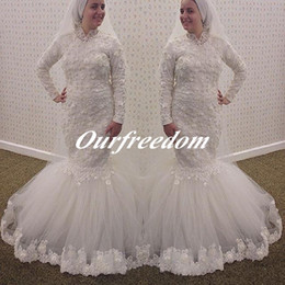 Wholesale Traditional Long Sleeve Wedding Dress - Modest Arabic Muslim Mermaid Wedding Dresses Lace Appliques High Neck Bridal Gown Long Sleeves Aso Ebi Style African Traditional Dresses