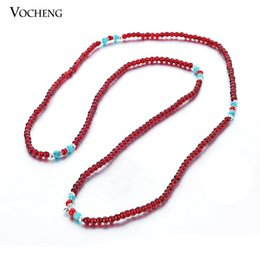 Wholesale Smallest Glass Beads - 6 Colors Stretch Necklace Round Glass Beads Jewelry Lovely Small Pendant Necklace for Angle Ball Pendant (VA-103) Vocheng Jewelry