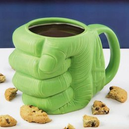 Wholesale Shape Porcelain - Funny Green Fist Ceramic Mug Coffee Tea Milk Cups Anime Porcelain Drinking Mug 3D fist Shaped Cups OOA3645