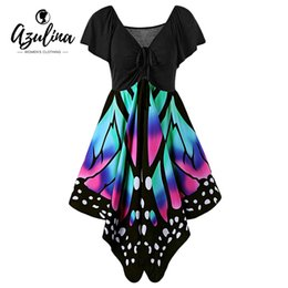 Wholesale Butterfly Clubs - Wholesale- AZULINA Butterfly Shape Women Fashion Dress V Neck Novelty Female Party Dresses Vestido Robe Femme Plus Size 4XL 5XL