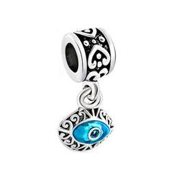 Wholesale European Metal Beads - Blue evil eye design drop European style dangle bead infant lucky charms Fits Pandora charm bracelet
