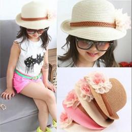 Chapéu bonito das crianças on-line-Meninas linda chapéu de belo sol! Flor do bebê chapéus de sol Crianças Straw Hat Fedora bebê Caps meninas Sun Crianças Verão Cap Jazz chapéu