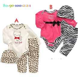 Wholesale Cat Long Sleeves Suit - 2 Design Baby boy or girls cat leopard romper+pants+hat 3 pcs set 2016 New Children Long sleeve hat rompers suits B001