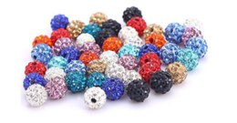 Wholesale Acrylic Drills - 14mm Shamballa Disco Balls Clay Micro Pave Crystal Rhinestones Mix Color A quality Through Drilled 50pcs Lot Jewelry Making Beads