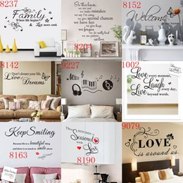 Wholesale Wall Decals Small Removable - Mixed Styles Wall Quotes Wall Stickers Decal Words Lettering Saying Wall Decor Sticker Vinyl Wall LOVE Art Stickers Decals hot wholesale