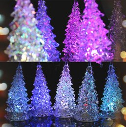 Wholesale Multi Changing Christmas Trees - Mini Color Changing Icy Crystal LED Christmas Tree Decoration Light Night Light Good Quality Brand New Hot Sales