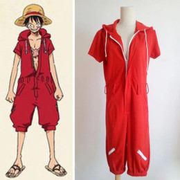 Wholesale One Piece Luffy Costume - Anime One Piece Monkey D Luffy Red Hooded Jumpsuits Rompers Uniforms Cosplay Costumes Summer Style Plus Size Unisex Clothing