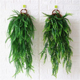 Wholesale Hanging Wall Vases - 2Pcs Green Pant Hanging Vine with one Vase Artificial Greenery Rattan for Home Wedding Grass Wall Green Wall Decoration 4 Designs