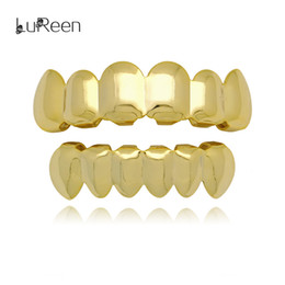 Wholesale Gold Joker - Lureen 18k Gold Rose Gold Silver Shiny Smooth Teeth Grills 6 Top and Bottom Teeth Grills Set Joker Mouth Teeth Hip Hop Grills