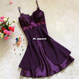 Wholesale Sexy Women Sleepwear Silk - S M L XL Female Sexy camisola Women Dress V-neck Bathrobe faux Silk Sleepwear Pajamas Straps Robes ladies casual nightwear