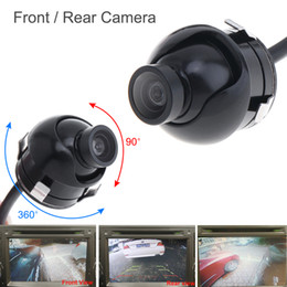 Wholesale Rear View Camera Mirror Image - DHL Free Wholesale Mini CCD Night Vision 360 Degree Car Rear Front Side View Backup Camera With Mirror Image Conversion Lines CAL_00D