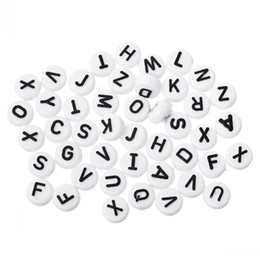 """Wholesale Alphabet Spacer Beads - 2016 new Acrylic Spacer Beads Flat Round Alphabet Letter White 10mm(3 8"""") Dia,Hole:Approx 2.4mm,200PCs"""
