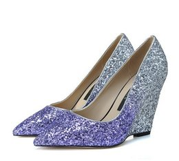Wholesale Pointy Wedges - Fashion Shiny Women's Genuine Leather Pointy Toes Wedges High Heels Pumps Bling-bling Gradient Colors Sequins Shoes