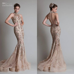Wholesale Elie Saab Lace Evening Dresses - Sexy See Through Organza Button Back Mermaid Trumpet Elie Saab Evening Formal Prom Dresses With High Neck And Luxurious Silver Appliques