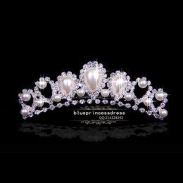 Новые Бесплатная доставка в наличии свадебные диадемы свадебный аксессуар Bling Кристалл Жемчужина невесты волосы головы Accesory дешевые металл Принцесса Корона KF от