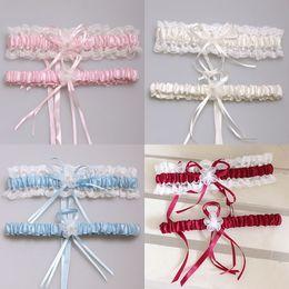 2020 nupcial ligas 2pcs / set 5 colores sexy rosa azul flor cinta boda liguero conjunto perla nupcial pierna liguero encaje novia accesorios desde fabricantes