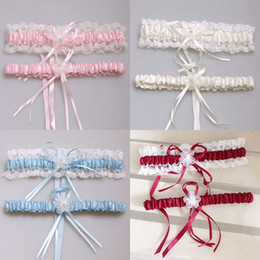 Wholesale Pink Ribbon Lace - 2016 Bridal Garters 2pcs set 5 Colors Sexy Pink Blue Flower Ribbon Wedding Garter Set Pearl Bridal Leg Garter Belt Lace Bride Accessories
