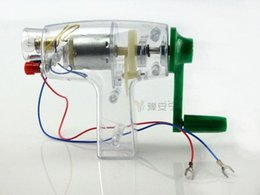 Wholesale Reducer Motor - generator Small hand-cranked generator DIY mechanical motor reducer gearbox LED lights alligator clip Technology small production