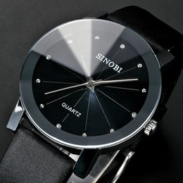 Wholesale Sinobi Woman - Trendy Classic Sinobi 981 men Round Dial Analog dress women watches Quartz Watch with Faux Leather Strap ( Black) for unisex
