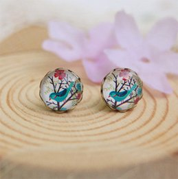 Wholesale Blue Bird Stud Earrings - 2015 Hot New 10mm Blue Bird Flowers Earrings Animal Christmas Stud Earrings for Kids Children Vintage Jewelry