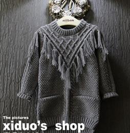 Wholesale Children Christmas Jumper Cotton - 2015 Christmas Knitting Long Sleeve Sweater Tassels Children Clothing Girls Sweaters Sweatshirt Pullover Tops Sweaters K6112