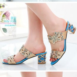 Wholesale Shoe Less Sandals - 2015 Fashion New Summer Rhinestone Flower Shoes Sexy Mid-Heels Slippers Open toe Less Platform Sandals for Women hot