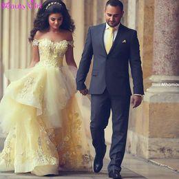 2016 robes de soirée arabes jonquille élégant de l'épaule dentelle Appliques Zuhair Murad une ligne-robe de fiançailles formelle robe de bal robes ? partir de fabricateur