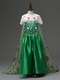 Wholesale Solid Maxi Dresses Wholesale - Frozen Costume Fever Inspired Green Maxi Split Elsa Dress Flower Princes dress Long floor Cosplay Costume Flower