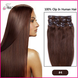 Wholesale Human Hair 24inch - 7A Brazilian Clip in Human Hair Extensions Straight Virgin Hair Clip in Extensions Color #,7pcs set 15 18 20 22 24inch