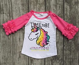 Wholesale 3t Girls Long Sleeve Tops - Fall winter baby girls children clothes boutique cotton top t-shirt raglans icing sleeve time to be hot pink unicorn print half