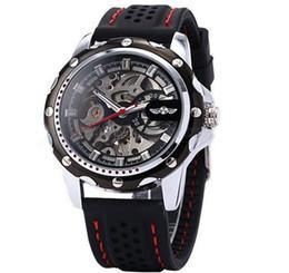 Wholesale Reloj Skeleton - 2017 New Winner Black Rubber Band Automatic Mechanical Skeleton Watch For Men Fashion Gear Wrist Watch Reloj Army Hombre Horloge