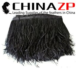 Wholesale Wholesale Ostrich Feather Trimming Fringe - Gold Supplier CHINAZP Crafts Factory 10yards lot 10~15cm (4~6inch) Width Top Quality Fluffy Dyed Black Ostrich Fringe Feathers Trim