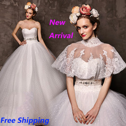 Wholesale Organza High Neck Wedding Jacket - W29 Lace With Jacket Cape Fashionable Romantic Plus Size Custom Made Ball Gown Wedding Dress 2015 Gowns Vestido De Noiva 2015